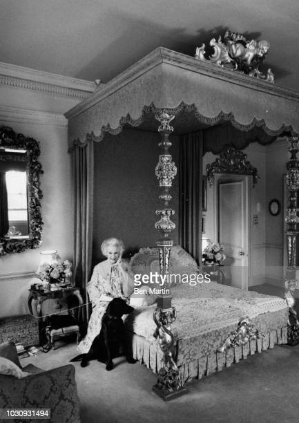 Dame Barbara Cartland English author of romance novels and stepgrandmother of Princess Diana, in her boudoir, September 19th, 1977.