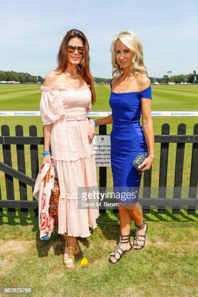 Dame Christina Estrada and Lady Victoria Hervey attend the Royal Windsor Cup polo at Guards Polo Club on June 24 2018 in Egham England