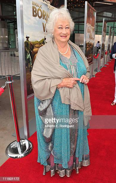Dame Daphne M Sheldrick arrives to the premiere of Warner Bros Pictures' Born To Be Wild 3D at the California Science Center on April 3 2011 in Los...