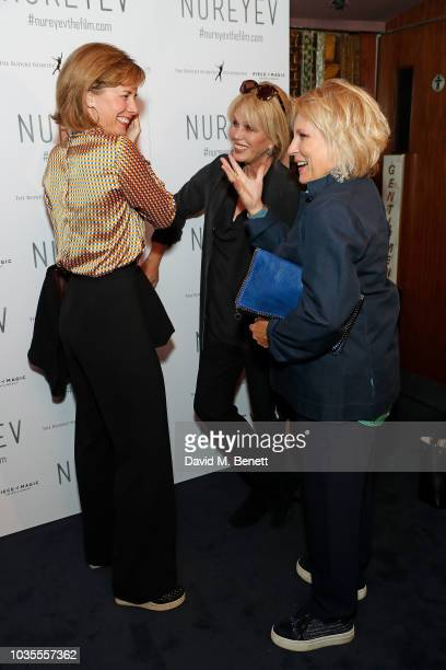 Dame Darcey Bussell Joanna Lumley and Jennifer Saunders attend the UK Premiere of 'Nureyev' at The Curzon Mayfair on September 18 2018 in London...