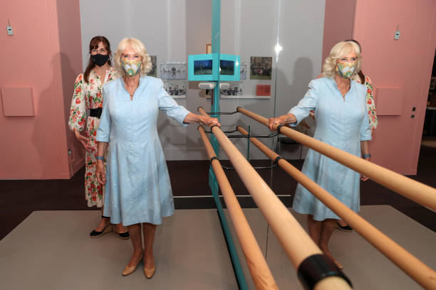 """GBR: The Duchess Of Cornwall Visits """"On Point: Royal Academy Of Dance At 100"""" At The V&A"""