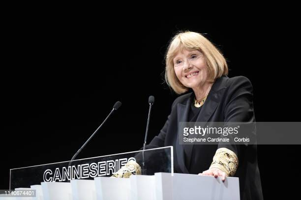 Dame Diana Rigg accepts the Variety Icon Award during the 2nd Canneseries International Series Festival Opening Ceremony on April 05 2019 in Cannes...