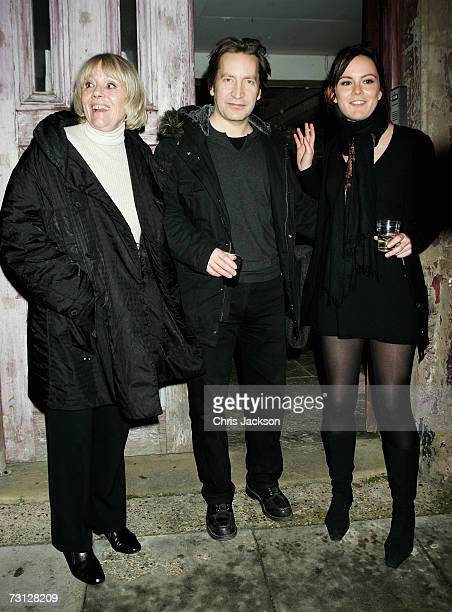 Dame Diana Rigg and her daughter Rachael Stirling pose for a photograph with actor Ronan Vibert outside Wilton's Music Theatre during the Uncle Vanya...