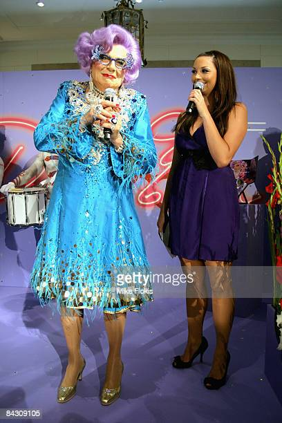 Dame Edna Everage and Singer RickiLee Coulter chat on stage during the official launch of MAC cosmetics at the David Jones Elizabeth Street Store on...