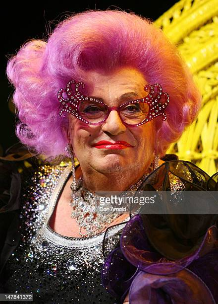 Dame Edna Everage answers questions from the media at the Eat Pray Laugh press conference at Capitol Theatre on July 5 2012 in Sydney Australia