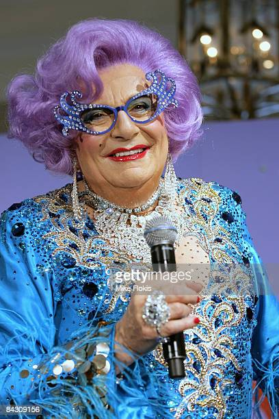 Dame Edna Everage during the official launch of MAC cosmetics at the David Jones Elizabeth Street Store on January 16 2009 in Sydney Australia
