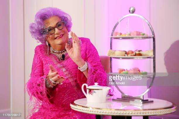 Dame Edna Everage poses during a High Tea launch event at The Langham on September 11 2019 in Sydney Australia