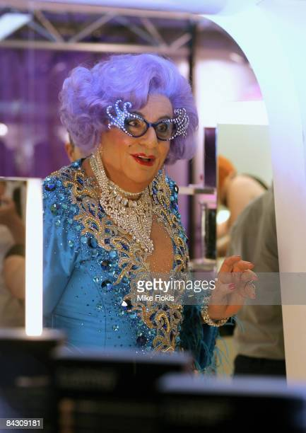 Dame Edna Everage poses for a photo during the official launch of MAC cosmetics at the David Jones Elizabeth Street Store on January 16 2009 in...