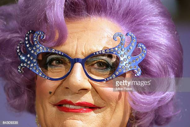 Dame Edna Everage smiles during the official launch of MAC cosmetics at the David Jones Elizabeth Street Store on January 16 2009 in Sydney Australia