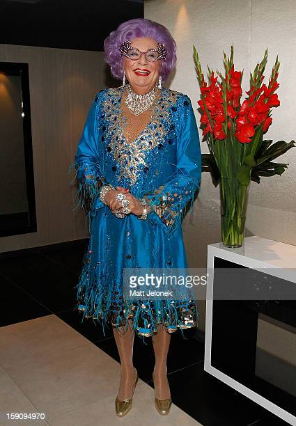 Dame Edna poses during a photo call for 'Eat Pray Laugh' at Crown Metropol on January 8 2013 in Perth Australia
