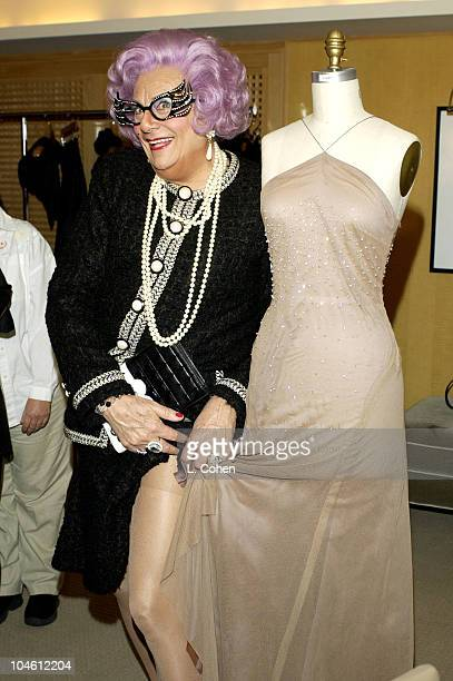 Dame Edna with the Anne Bowen five million dollar Hearts on Fire diamond Oscar gown