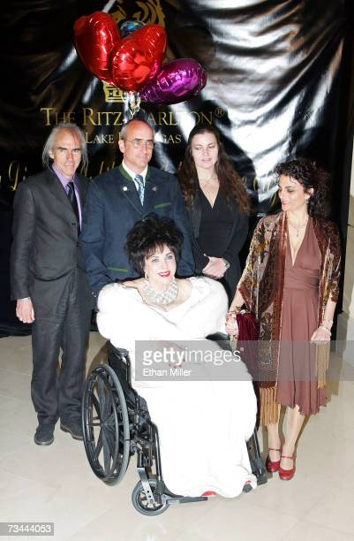 Dame Elizabeth Taylor arrives with her children Michael Wilding Jr Christopher Wilding Maria Burton and Liza Todd Burton for Taylor's 75th birthday...