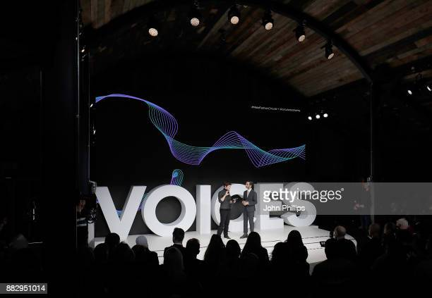 Dame Ellen McArthur and Imran Amed speak on stage during #BoFVOICES on November 30 2017 in Oxfordshire England