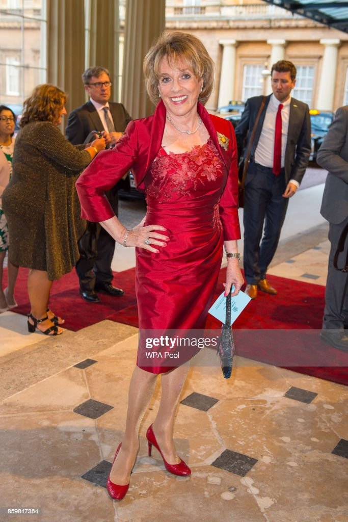 Dame Esther Rantzen arrives at the Grand Entrance at Buckingham Palace, London, to attend a reception on World Mental Health Day to celebrate the contribution of those working in the mental health sector across the UK at Buckingham Palace on 10, October 2017 in London, England.