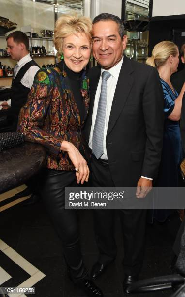 Dame Fiona Shackleton and Jesus Adorno attend the launch of John Swannell's photography exhibition at Le Caprice on February 5 2019 in London England