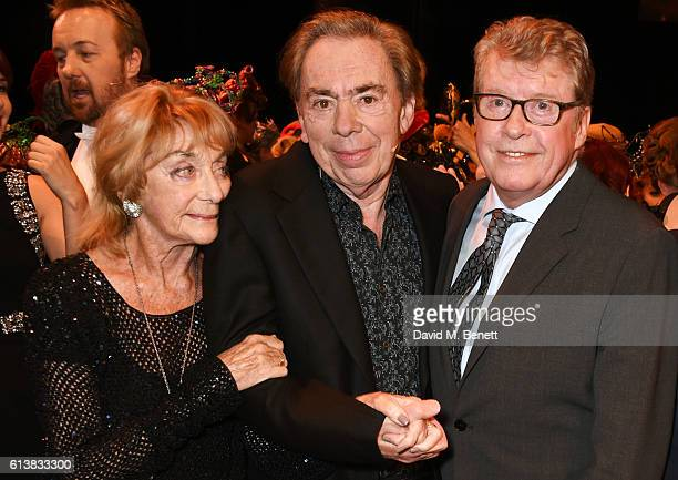 Dame Gillian Lynne Lord Andrew Lloyd Webber and original Phantom Michael Crawford pose onstage at The Phantom Of The Opera 30th anniversary charity...