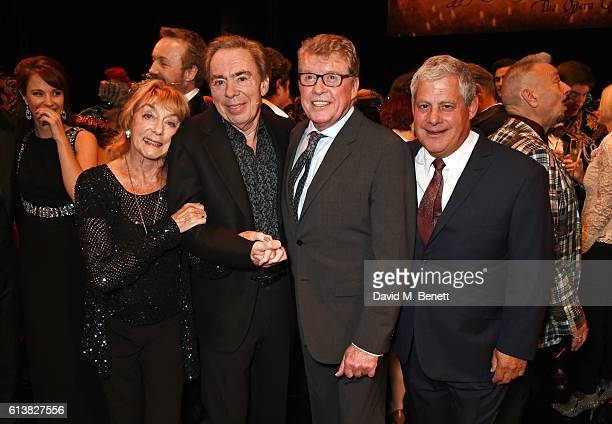 Dame Gillian Lynne Lord Andrew Lloyd Webber original Phantom Michael Crawford and Sir Cameron Mackintosh pose onstage at 'The Phantom Of The Opera'...