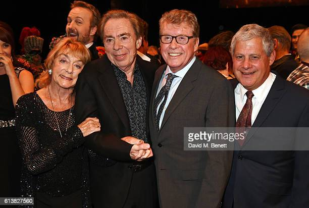 Dame Gillian Lynne Lord Andrew Lloyd Webber original Phantom Michael Crawford and Sir Cameron Mackintosh pose onstage at The Phantom Of The Opera...