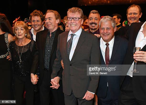 Dame Gillian Lynne Michael Ball Lord Andrew Lloyd Webber original Phantom Michael Crawford and Sir Cameron Mackintosh pose onstage at The Phantom Of...