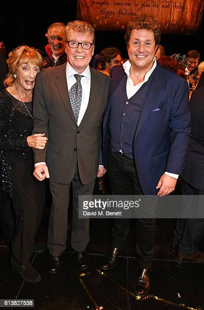 Dame Gillian Lynne original Phantom Michael Crawford and Michael Ball pose onstage at 'The Phantom Of The Opera' 30th anniversary charity gala...