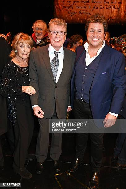 Dame Gillian Lynne original Phantom Michael Crawford and Michael Ball pose onstage at The Phantom Of The Opera 30th anniversary charity gala...