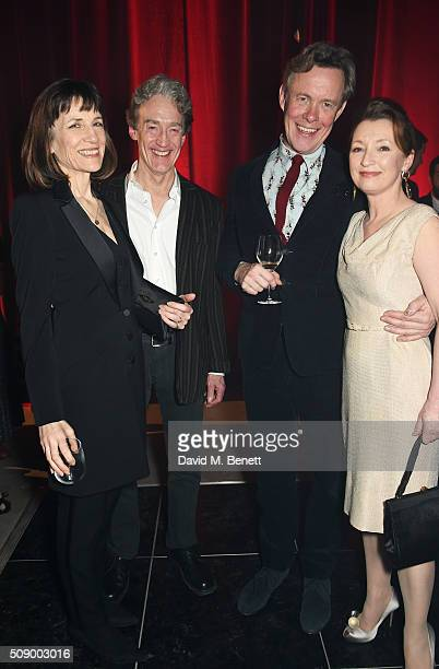Dame Harriet Walter Guy Paul Alex Jennings and Lesley Manville attend the London Evening Standard British Film Awards after party at Television...