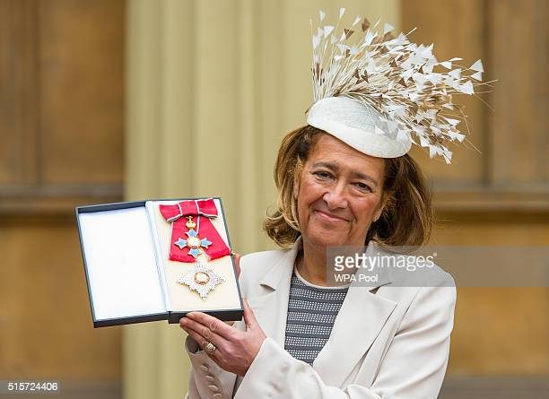 Dame Heather Rabbatts with her DBE medal which was awarded by the Duke of Cambridge at an investiture ceremony at Buckingham Palace on March 15 2015...