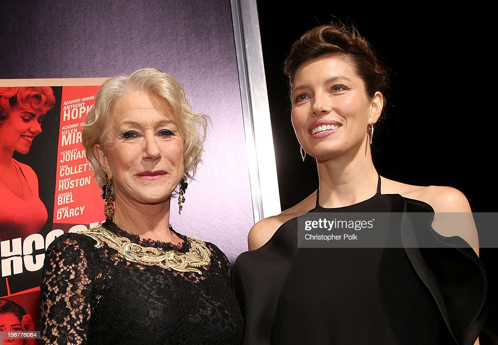 Dame Helen Mirren and actress Jessica Biel arrive at the premiere of Fox Searchlight Pictures' 'Hitchcock' at the Academy of Motion Picture Arts and Sciences Samuel Goldwyn Theater on November 20, 2012 in Beverly Hills, California.