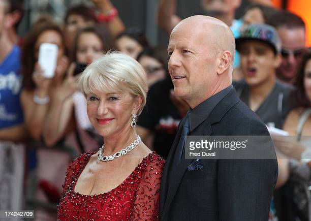 Dame Helen Mirren and Bruce Willis attend the European Premiere of Red 2 at Empire Leicester Square on July 22 2013 in London England