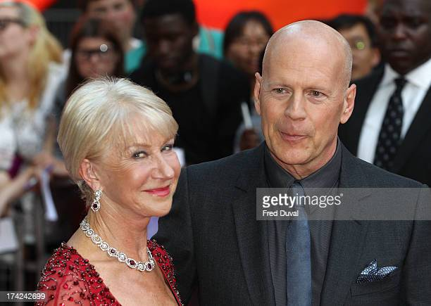 Dame Helen Mirren and Bruce Willis attends the European Premiere of Red 2 at Empire Leicester Square on July 22 2013 in London England