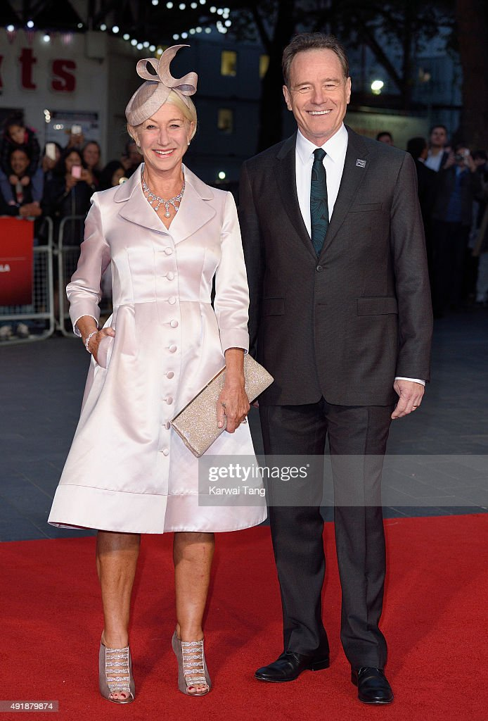Dame Helen Mirren and Bryan Cranston attend a screening of 'Trumbo' during the BFI London Film Festival at Odeon Leicester Square on October 8, 2015 in London, England.