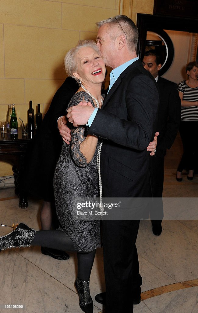 Dame Helen Mirren (L) and director Stephen Daldry attend an after party following the press night performance of 'The Audience' at One Whitehall Place on March 5, 2013 in London, England.