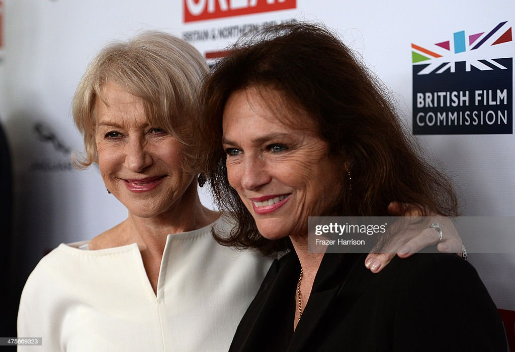 Dame Helen Mirren (L) and Jacqueline Bisset attend the 2014 GREAT British Oscar Reception at British Consul General's Residence on February 28, 2014 in Los Angeles, California.