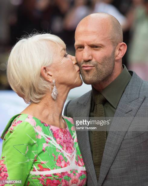 Dame Helen Mirren and Jason Statham attend the Fast Furious Hobbs Shaw Special Screening at The Curzon Mayfair on July 23 2019 in London England