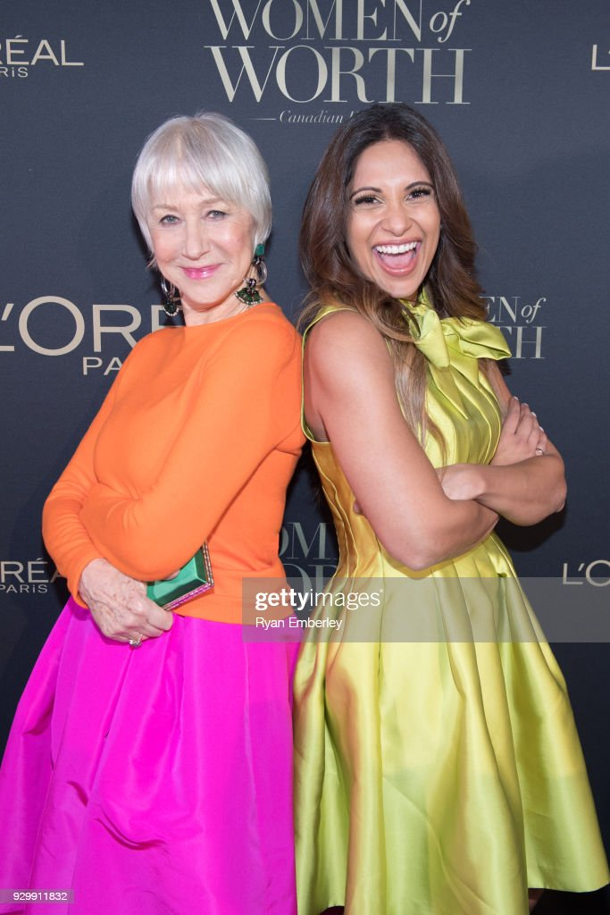 Dame Helen Mirren and Sangita Patel attend the L'Oreal Paris Canadian Women of Worth Awards Gala on International Women's Day 2018 on March 8, 2018 in Toronto, Canada.