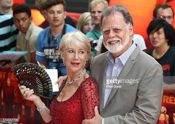 Dame Helen Mirren and Taylor Hackford attend the European Premiere of Red 2 at Empire Leicester Square on July 22 2013 in London England
