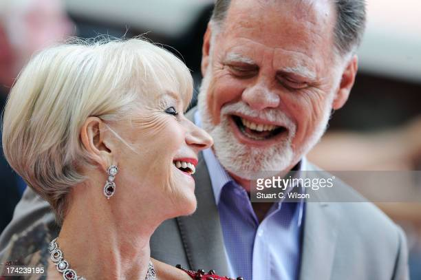 Dame Helen Mirren and Taylor Hackford attends the European Premiere of 'Red 2' at Empire Leicester Square on July 22 2013 in London England