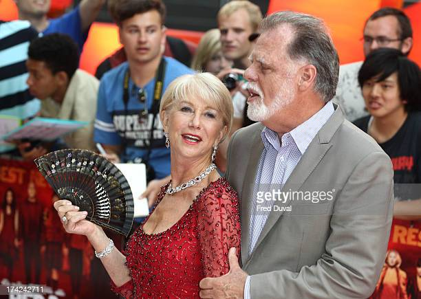 Dame Helen Mirren and Taylor Hackford attends the European Premiere of Red 2 at Empire Leicester Square on July 22 2013 in London England