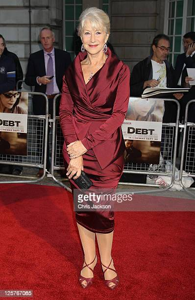 Dame Helen Mirren arrives at the UK premiere of The Debt at The Curzon Mayfair on September 21, 2011 in London, England. The film releases in the UK...
