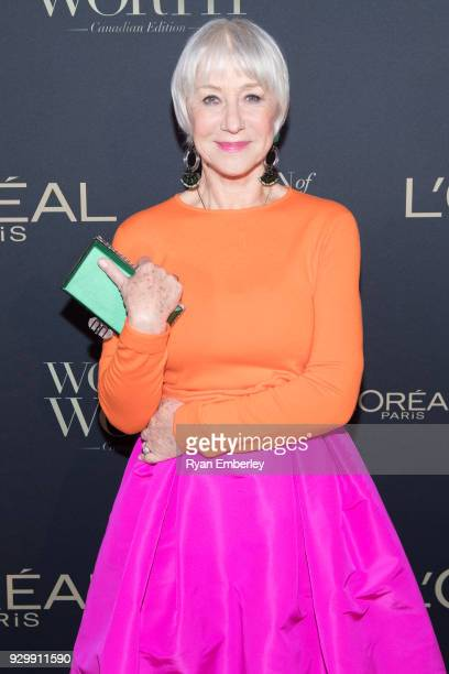 Dame Helen Mirren attend the L'Oreal Paris Canadian Women of Worth Awards Gala on International Women's Day 2018 on March 8 2018 in Toronto Canada