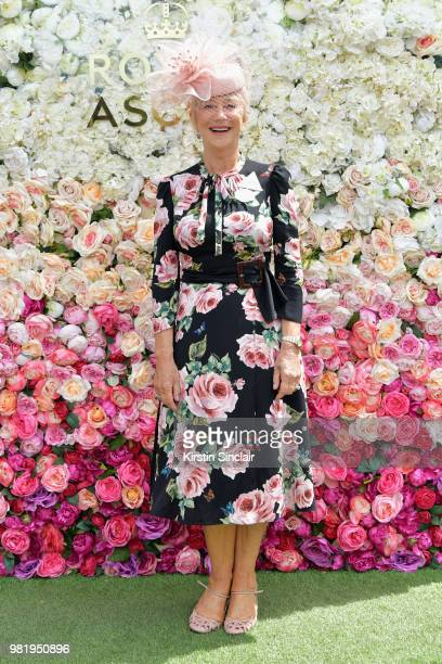 Dame Helen Mirren attends day 5 of Royal Ascot at Ascot Racecourse on June 23, 2018 in Ascot, England.