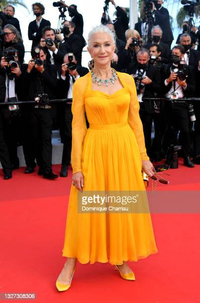 """Dame Helen Mirren attends the """"Annette"""" screening and opening ceremony during the 74th annual Cannes Film Festival on July 06, 2021 in Cannes, France."""