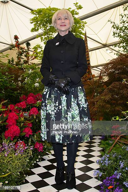 Dame Helen Mirren attends the Chelsea Flower Show press and VIP preview day at Royal Hospital Chelsea on May 20 2013 in London England