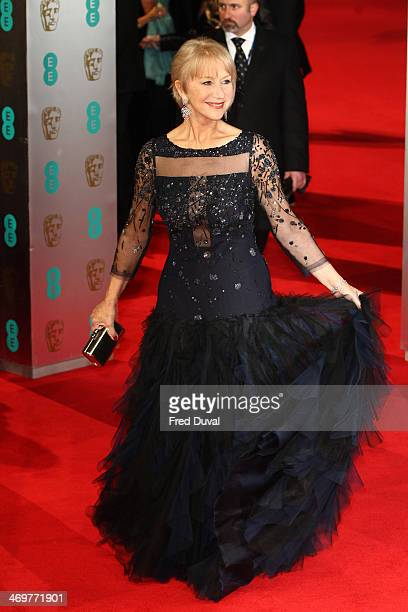 Dame Helen Mirren attends the EE British Academy Film Awards 2014 at The Royal Opera House on February 16 2014 in London England