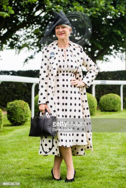 Dame Helen Mirren attends the Epsom Derby at Epsom Racecourse on June 2 2018 in Epsom England