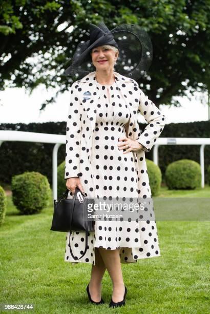 Dame Helen Mirren attends the Epsom Derby at Epsom Racecourse on June 2, 2018 in Epsom, England.