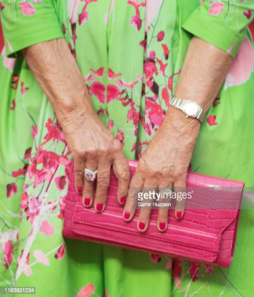 """Dame Helen Mirren, bag detail, attends the """"Fast & Furious: Hobbs & Shaw"""" Special Screening at The Curzon Mayfair on July 23, 2019 in London, England."""