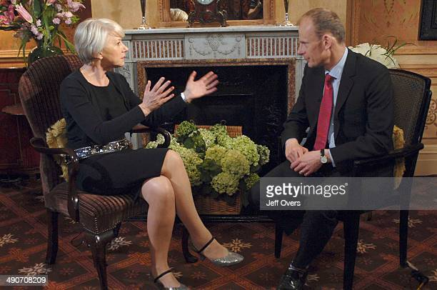 Dame Helen Mirren being interviewed by Andrew Marr for Sunday AM