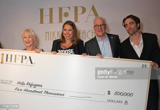 Dame Helen Mirren Help Refugees founder Josie Naughton Participant Media CEO David Linde and Robert Pattinson at Nikki Beach for the HFPA Participant...