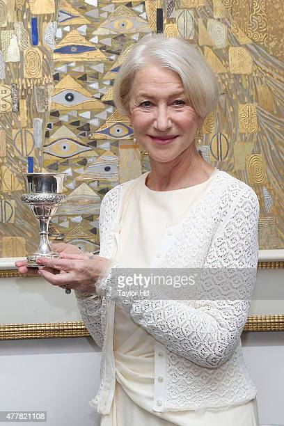 Dame Helen Mirren is honored by the World Jewish Congress for her role as Adele BlochBauer in Woman in Gold in front of her character's portrait by...